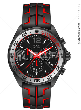 Realistic red grey steel watch clock chronograph 56883879