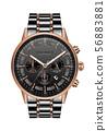 Realistic clock watch chronograph black copper 56883881