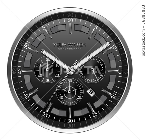 Realistic black silver clock watch face 56883883