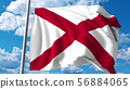 Waving flag of Alabama against clouds. 3D rendering 56884065