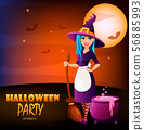 Halloween party. Beautiful lady witch 56885993