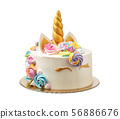 Unicorn cake for a child with marshmallows on a white background. 56886676