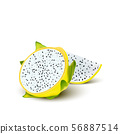 Red yellow dragon fruit, whole fruit and half. 56887514