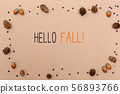 Hello fall messagewith autumn theme 56893766