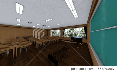 School music room with desk, no people, illustration 4