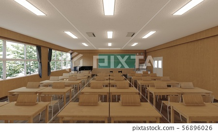 School music room with desk, no people, illustration 11