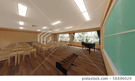 School music room with desk, no people, illustration 14