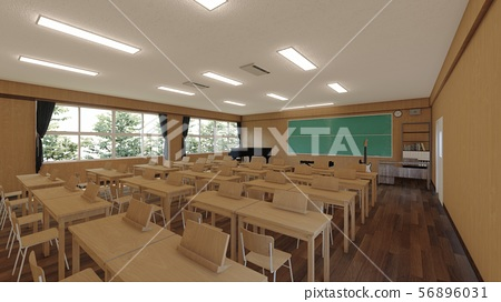 School music room with desk, no people, illustration 15