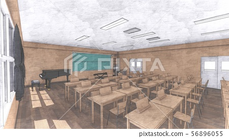 School music room with desk, no people, illustration 22