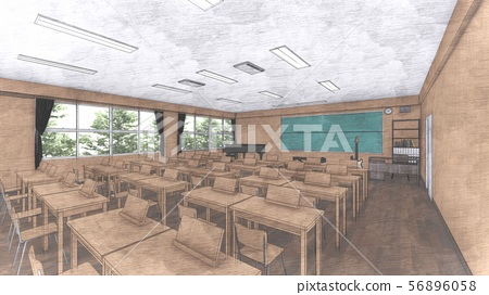 School music room with desk, no people, illustration 25