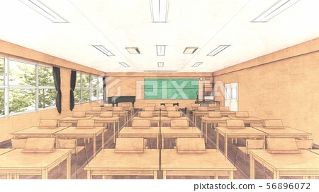 School music room with desk, no people, illustration 31