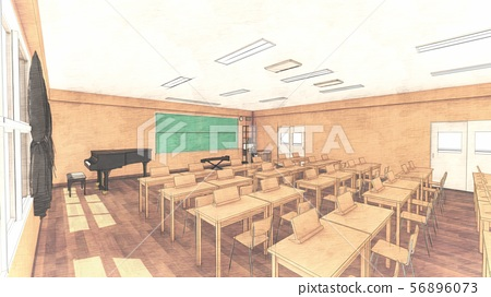 School music room with desk, no people, illustration 32