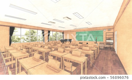 School music room with desk, no people, illustration 35