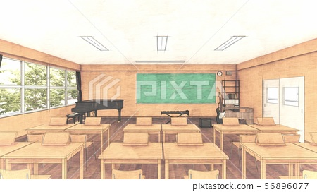 School music room with desk, no people, illustration 36