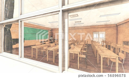 School music room with desk, no people, illustration 37