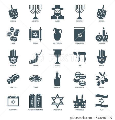 hanukkah icons set, judaism symbols collection 56896115