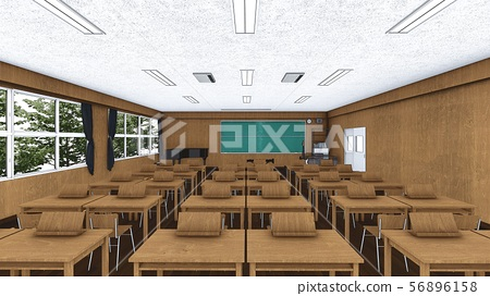 School music room with desk, no people, illustration 51
