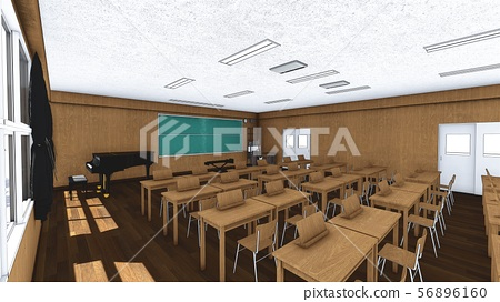 School music room with desk, no people, illustration 52