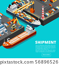 Isometric 3d seaport terminal with cargo ships, cranes and containers. Shipping industry vector 56896526