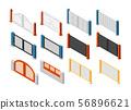 Isometric fences and gates. Rural farm fencing. 3d vector set 56896621