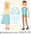 Cartoon character bride and groom isolated on white background 56897478
