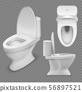 Toilet bowl. Realistic white home toilet in top and side view. Isolated vector illustration 56897521