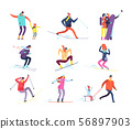 Winter sports people. Adult and children in winter clothes snowboarding and skiing. Vector cartoon 56897903