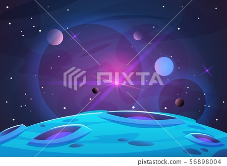 Space and planet background. Planets surface with craters, stars and comets in dark space. Vector 56898004
