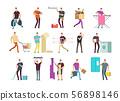 Cartoon people in household activities. Vector characters set 56898146