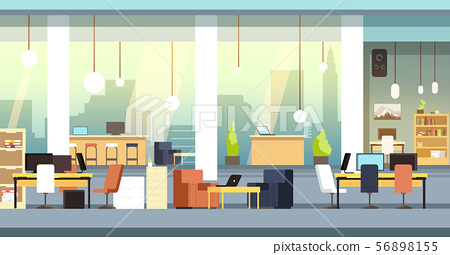 Coworking interior. Empty open space office, workspace vector background 56898155
