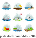 Set of types of air pollution. Vector illustration on a white background. 56899286