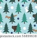 북유럽의 숲과 동물 무늬 하늘색 56899638