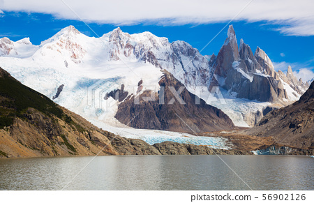 Lake at foot of Fitz Roy, Cerro Torre, Andes, Argentina 56902126