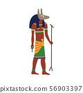 Ancient Egypt god Anubis, cartoon drawing of Egyptian pharaoh burial symbol 56903397