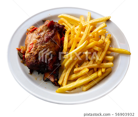 Pork knuckle with french fries 56903932