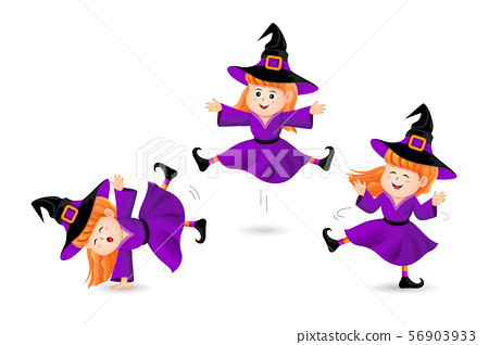 Cute little  witch three acts. 56903933