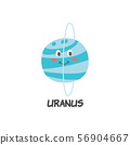 Blue icon of Uranus a planet of solar system flat vector illustration isolated. 56904667