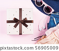 Pink flat lay with gift box 56905009