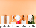Zero waste beauty body care items on orange 56905102