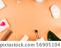 Zero waste beauty body care items on orange 56905104