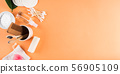 Zero waste beauty body care items on orange 56905109
