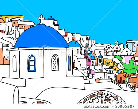 Santorini island, Greece, illustration 56905287