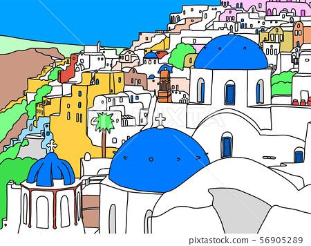 聖托里尼海島,希臘,例證 56905289