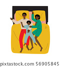 Mother, Father and Son Sleeping Together in Bed, African American Family, Husband, Wife and Kid 56905845