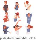 Happy People Listening to Music Wearing Earphones and Headphones and Dancing Set, Happy Teen Boys 56905916
