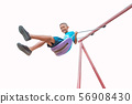 A fun boy playing swing floating up very high, 56908430