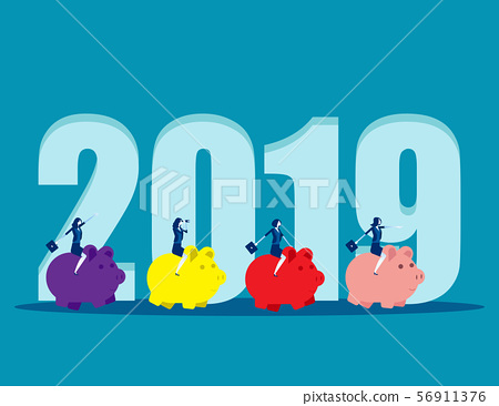2019 New Year. Business people ride piggy bank. 56911376