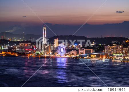 <山口縣>下關,Kanmon海峽的夜景 56914943