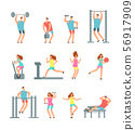 Woman and man doing various sports exercises with gym equipment. Fitness cartoon vector people, gym 56917909
