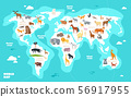 World map with animals. Earth discovery funny kids geography vector illustration 56917955